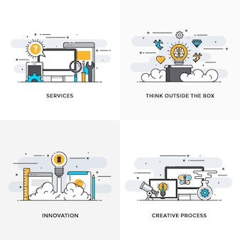 Modern flat color line designed concepts icons for services, think outside the box, innovation and creative process.