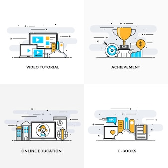 Modern flat color line designed concepts icons for video tutorial, achievement, online education and e books.