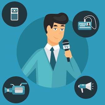 Modern flat concept of journalism press news reporter