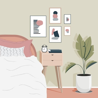 현대 평면 아늑한 침실 design.scandinavian 인테리어. 현대적인 벽 장식.