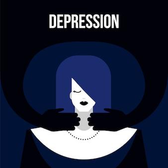 Modern flat depression mental illness disorder concept