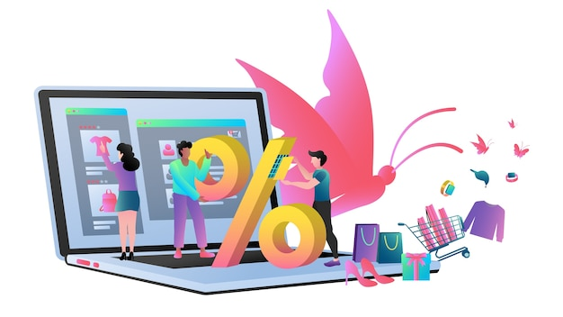 Modern flat design business concept for online shopping to use for web design.