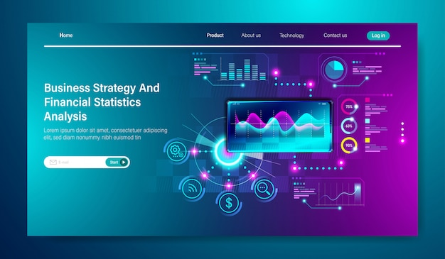 Modern flat design of business strategy