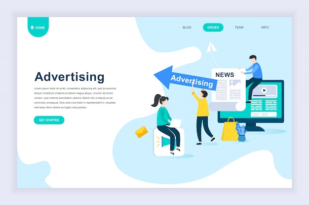 Modern flat design concept of advertising for website