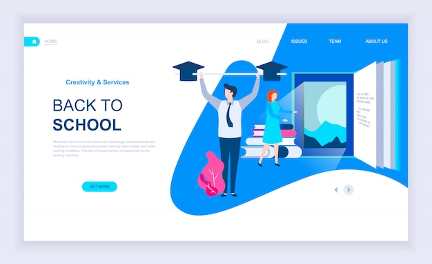 Modern flat design concept of back to school