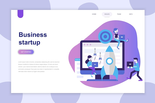 Modern flat design concept of business startup for website