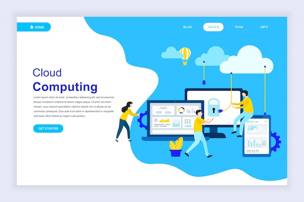 Modern flat design concept of cloud technology for website