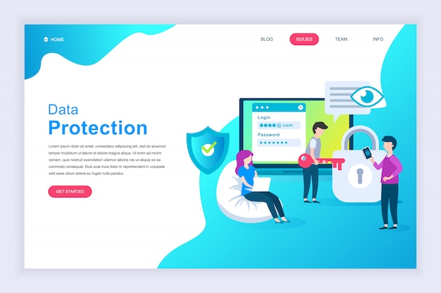 Modern flat design concept of data protection for website