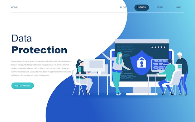 Modern flat design concept of data protection