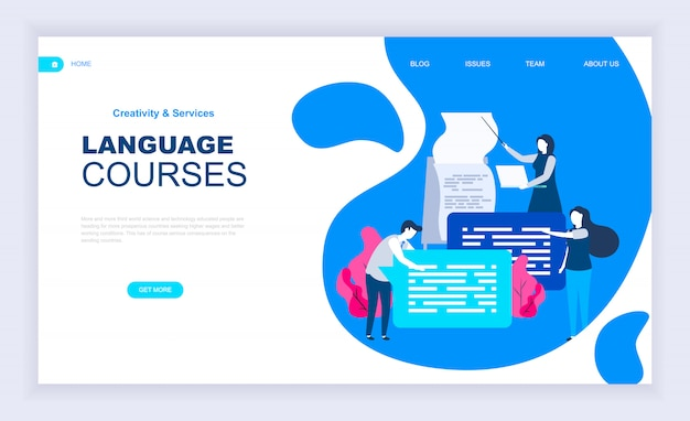 Modern flat design concept of language courses