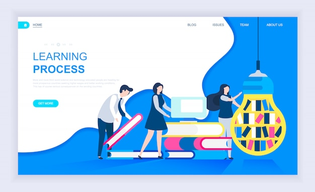 Modern flat design concept of learning process