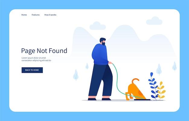 현대 평면 디자인 개념 남자와 그의 개 웹 사이트 및 모바일 사이트에 대해 찾을 수 없는 구멍 페이지에서 뭔가를 찾고 빈 상태