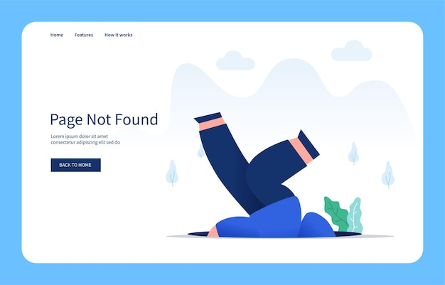 Modern flat design concept man falling into the hole page not found empty state