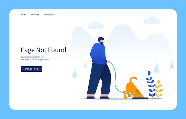 Modern flat design concept man and his dog looking for something in the hole page not found for websites and mobile sites empty states