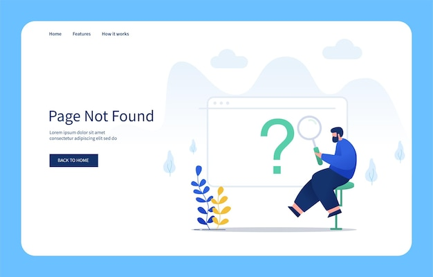 Modern flat design concept man sitting holding magnifying glass page not found for websites and mobile sites empty states