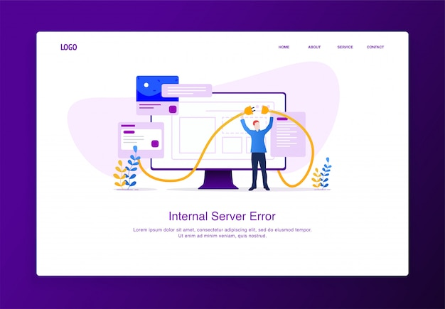 Modern flat design concept of man trying to connect kabel from his monitor