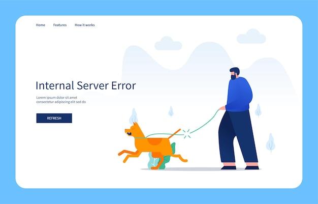 현대적인 평면 디자인 개념 남자는 개와 함께 산책하고 가죽 끈은 내부 서버 오류를 끊습니다.