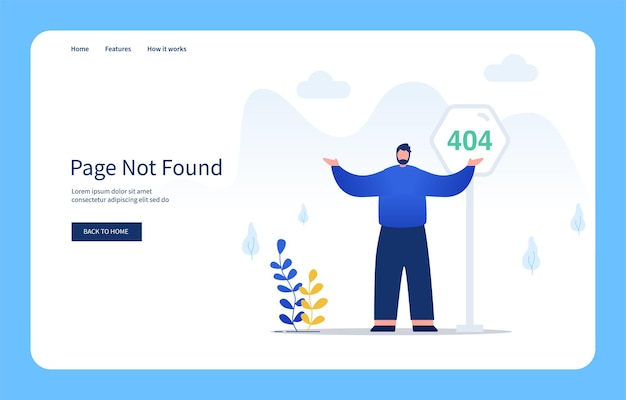 Modern flat design concept man with confused gestures standing in front of 404 sign page not found for website and mobile site empty states