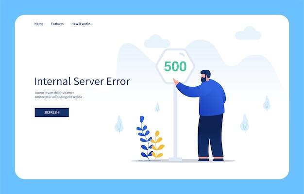웹 사이트 및 모바일 사이트 빈 상태에 대한 500 기호 내부 서버 오류를 가리키는 제스처와 함께 현대 평면 디자인 개념 남자