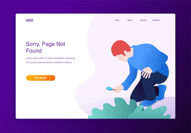 Modern flat design concept of man with magnifying glass searching something missing