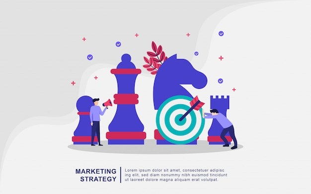 Modern flat design concept of marketing strategy for banner and website