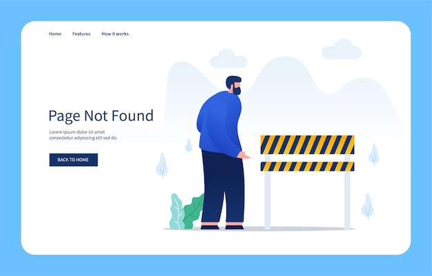 Modern flat design concept men cant cross the board barrier bad gateway empty state
