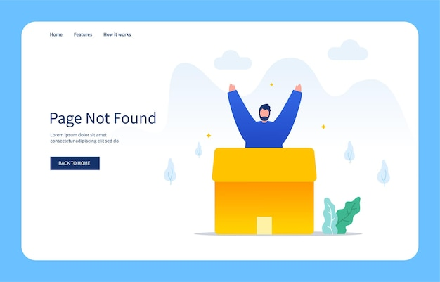 Modern flat design concept men out of a cardboard box page not found empty state
