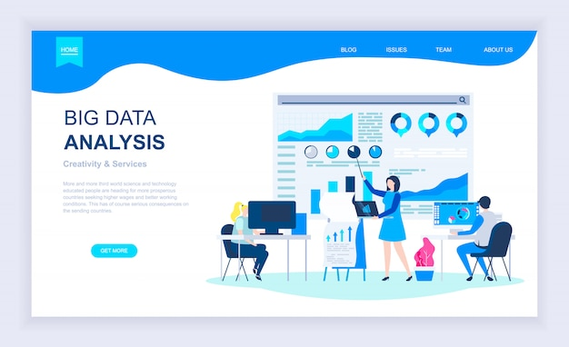 Современная концепция плоского дизайна большого анализа данных