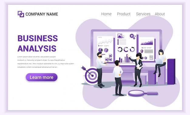 Современный плоский дизайн концепции бизнес-анализа с персонажами. аудит, финансовый консалтинг.