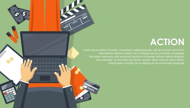ウェブサイトとモバイルウェブサイトのビジネス戦略とアクションのモダンなフラットデザインコンセプト