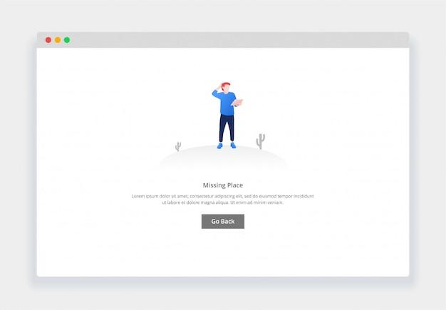 Современный плоский дизайн концепции смущенного человека, смотрящего на карту, страница не существует для веб-сайта и мобильного веб-сайта. шаблон страницы пустых состояний