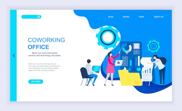 Coworking officeの最新フラットデザインコンセプト