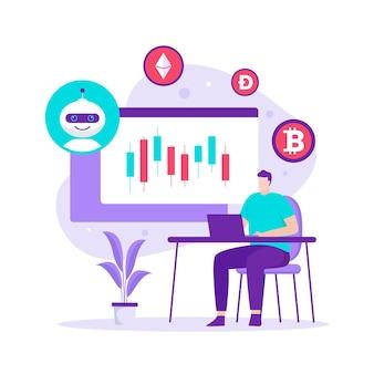 Современная плоская концепция дизайна бота для торговли криптовалютой. иллюстрация для веб-сайтов, целевых страниц, мобильных приложений, плакатов и баннеров.