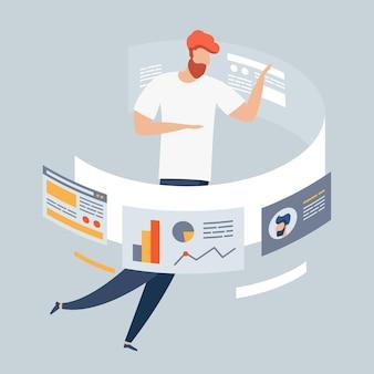 배너 및 웹사이트, 방문 페이지 템플릿에 대한 마케팅의 현대적인 평면 디자인 개념. 전략 및 관리, 분석, 개발. 남성 디자이너 프리랜서는 온라인 비즈니스 애플리케이션을 개발합니다.