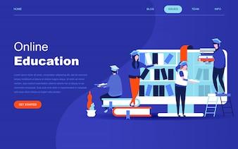 オンライン教育のモダンなフラットデザインのコンセプト