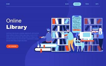 オンライン図書館のモダンなフラットデザインのコンセプト