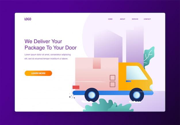 온라인 배송의 현대적인 평면 디자인 컨셉