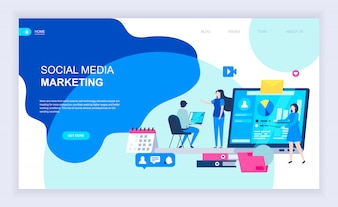 Modern flat design concept of Social Media Marketing