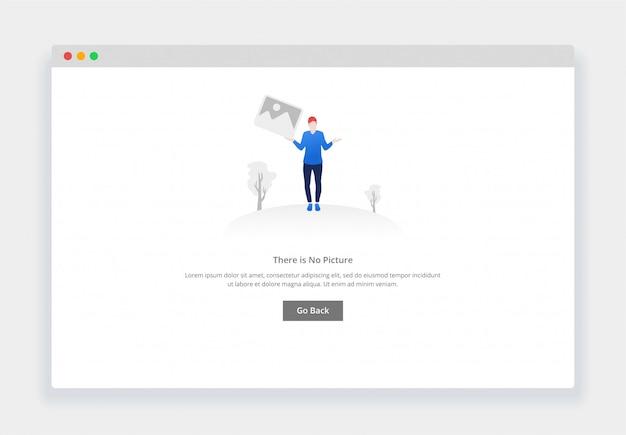 Webサイトやモバイルwebサイトのイメージがないというモダンなフラットデザインコンセプト。空の状態ページテンプレート