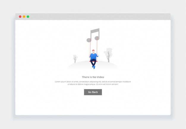 Современная плоская концепция дизайна - нет музыки для сайта и мобильного сайта. шаблон страницы пустых состояний