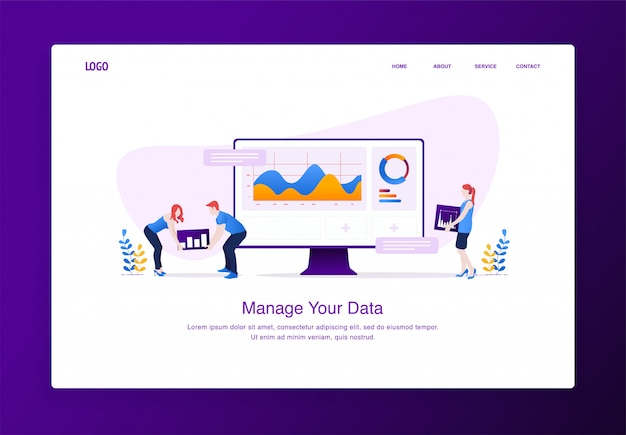 Modern flat design concept of people customizing data on desktop