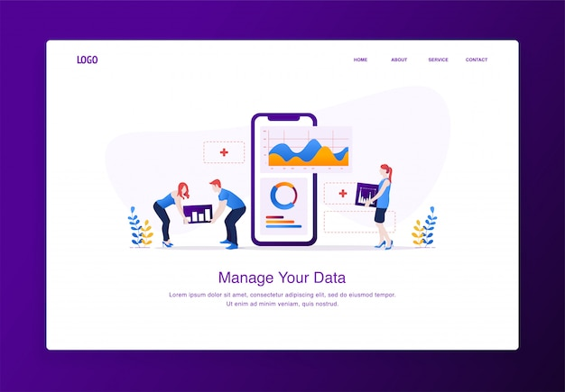 Modern flat design concept of people customizing data on mobile