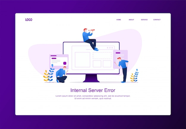 Modern flat design concept of people with magnifying glass and binoculars searching something missing