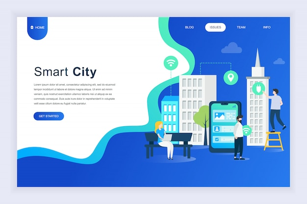 Modern flat design concept of smart city for website