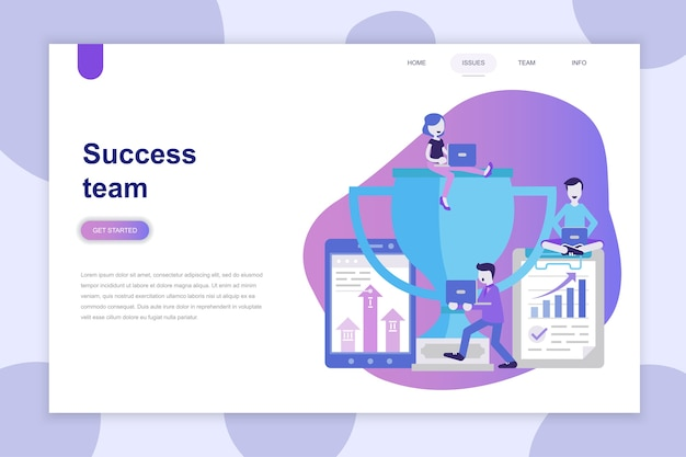 Modern flat design concept of success team for website