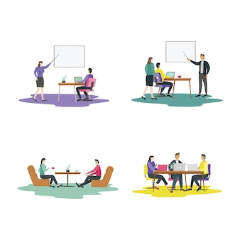 Modern flat design concept of  teamwork activities