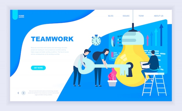 Modern flat design concept of teamwork project