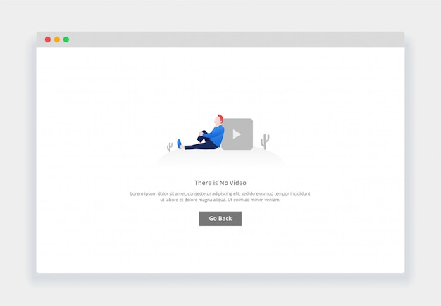 Modern flat design concept of there is no video for website and mobile website. empty states page template