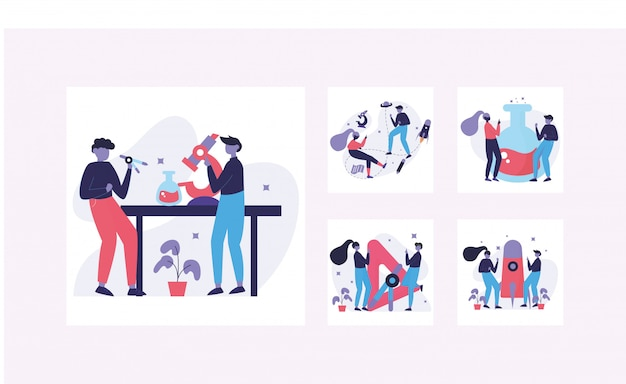 Modern flat design concept,two young scientists doing research in a lab