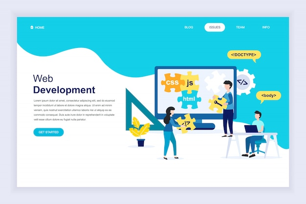 Modern flat design concept of web development for website